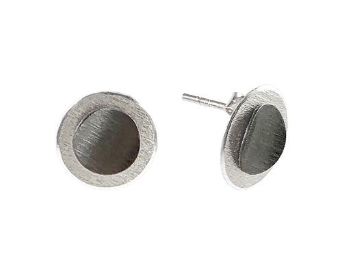Ruthenium and Sterling Silver Stud Earrings