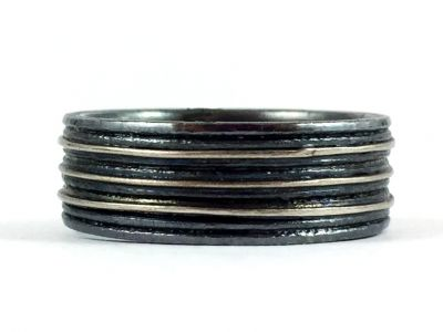 Oxidized Silver and Platinum Men's Wedding Band