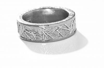 Oxidized Silver and Palladium Men's Wedding Band.