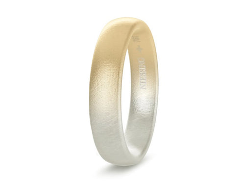 Blended 18K Yellow and Grey Gold Men's Wedding Band