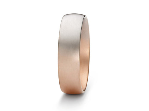 "Blended 18K Rose and Gray Gold Men's ""Aura"" Wedding Band"