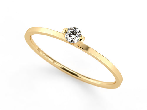 "18K Yellow Gold and Diamond ""Princess"" Engagement Ring"
