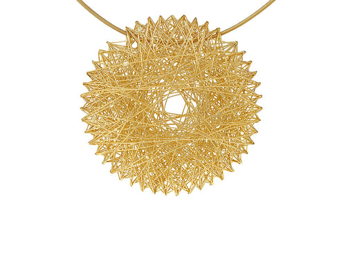 "18K Yellow Gold ""Filo D'Oro Pendant with Coil Necklace"