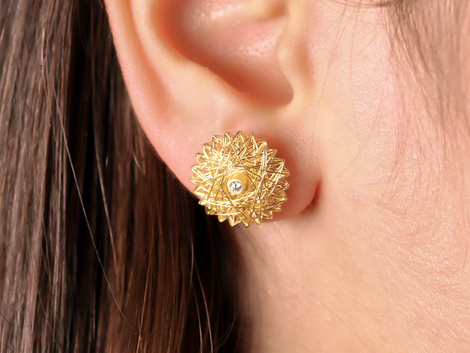 Diamond Filo D'Oro Stud Earrings in Yellow Gold