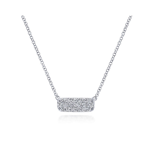 Petite Diamond Bar Necklace in White Gold