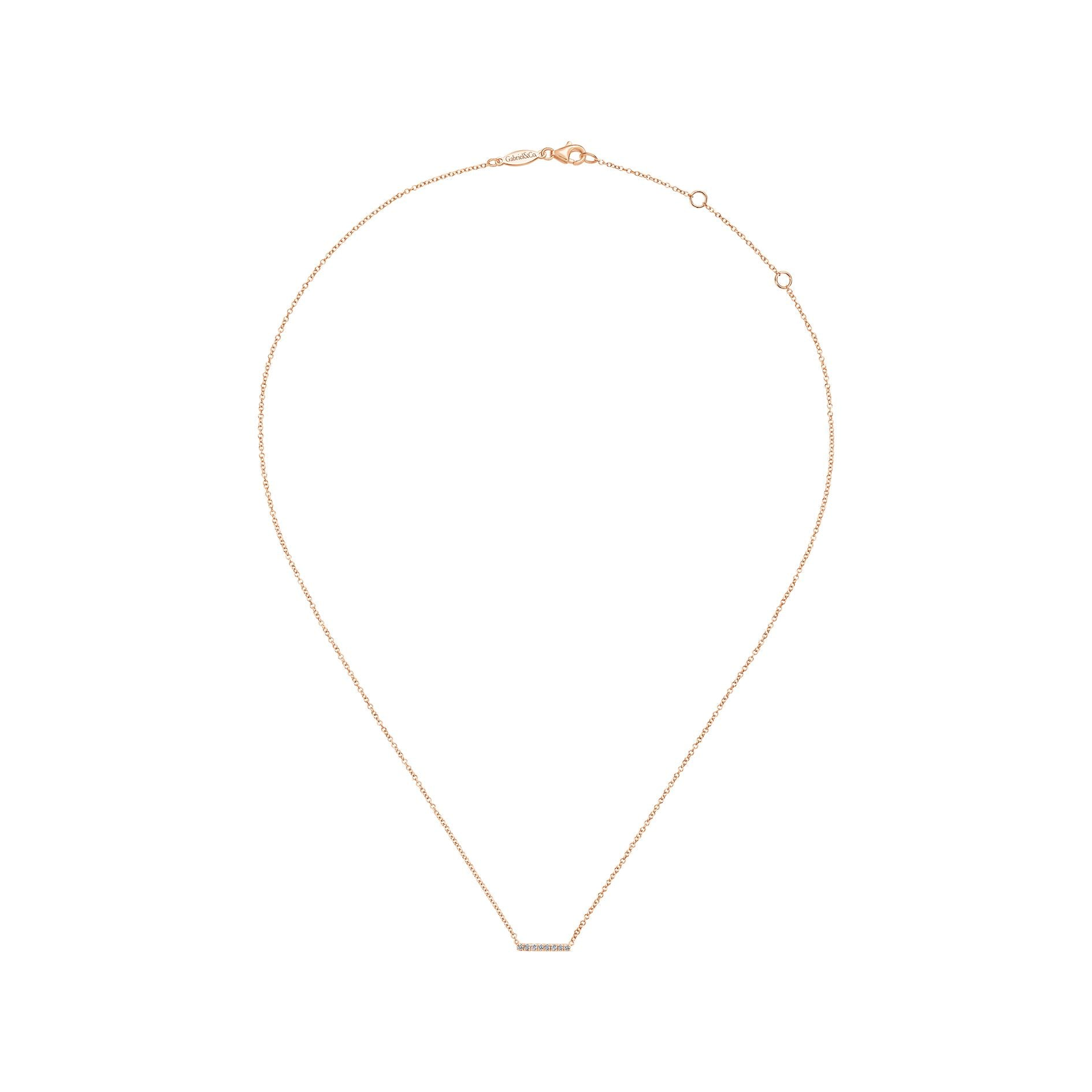 Petite Pavé Diamond Bar Necklace in Rose Gold