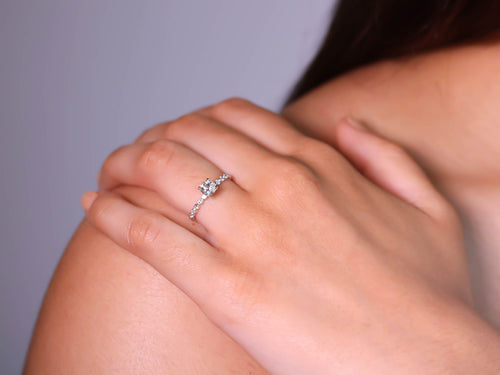 White Gold and Diamond Solitaire Engagement Ring