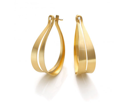 "18K Yellow Gold ""Large Leaves"" Earrings"