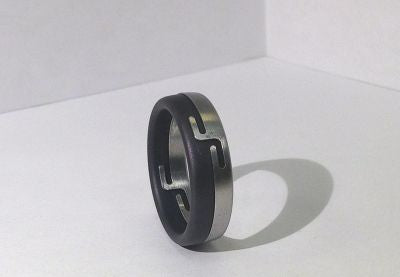 "Stainless and Blackened Stainless Steel ""Gemini"" Men's Ring"