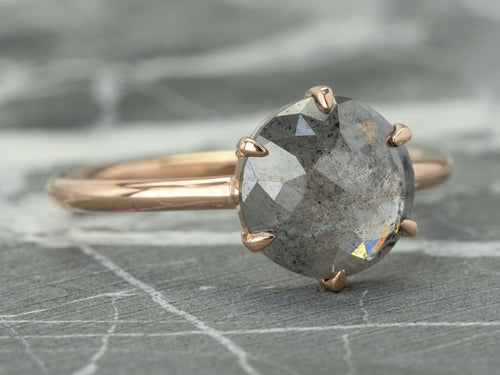 "14K Rose Gold and Round Gray Diamond ""Jane"" Engagement Ring"