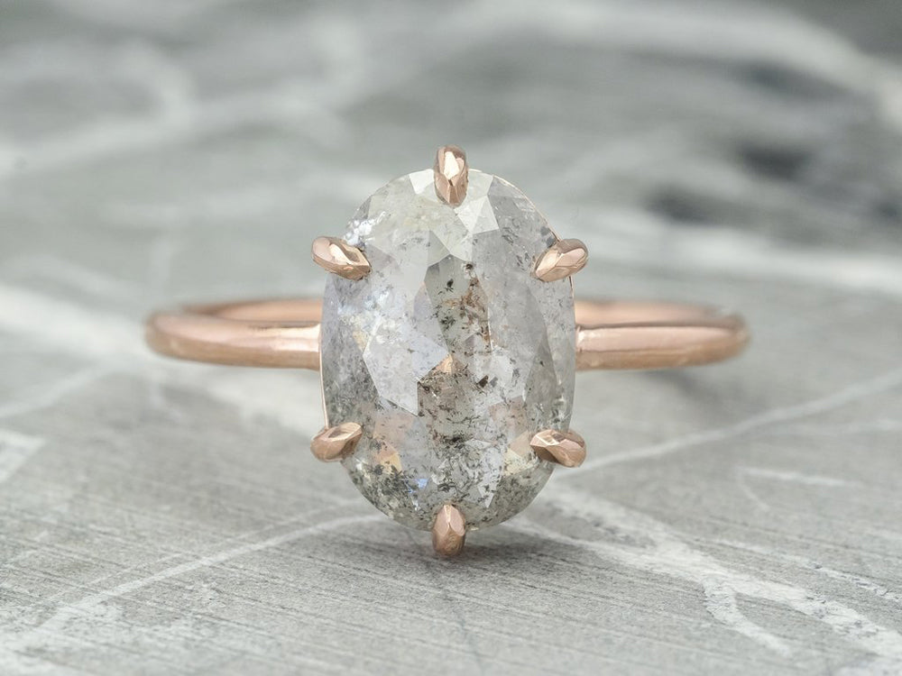 "14K Rose Gold and Oval Gray Diamond ""Jane"" Engagement Ring"