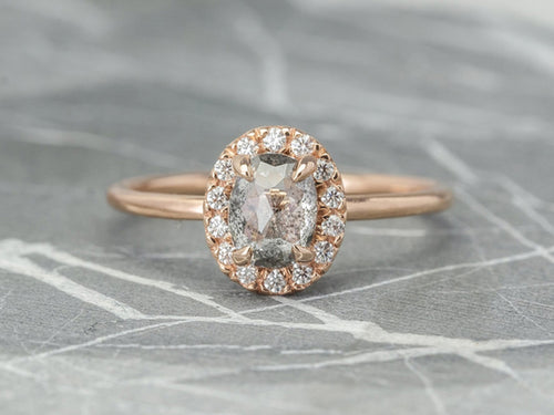 Oval Gray Diamond Halo Engagement Ring