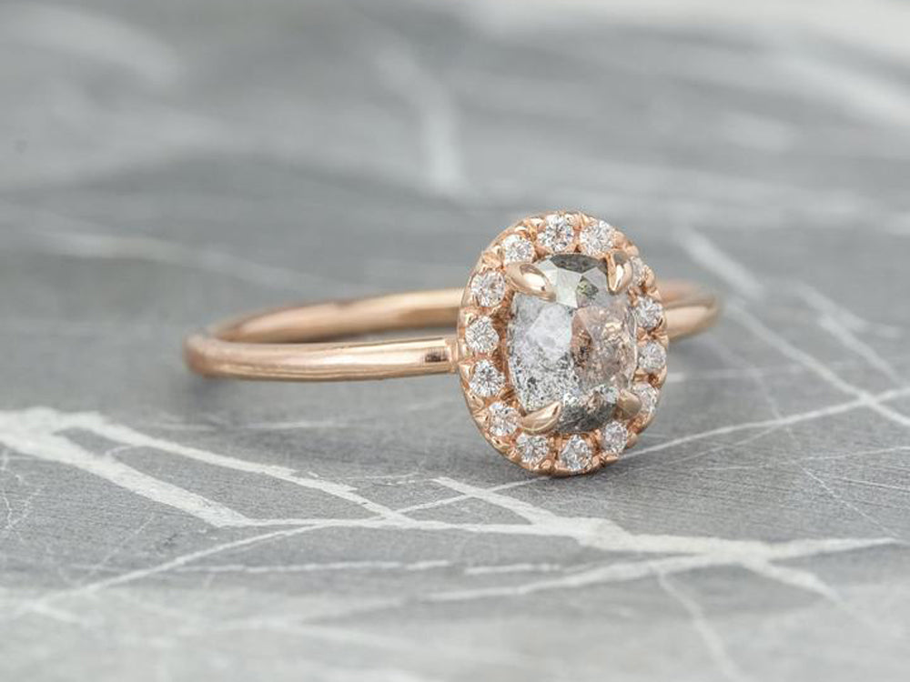 Gray Diamond Halo Ring