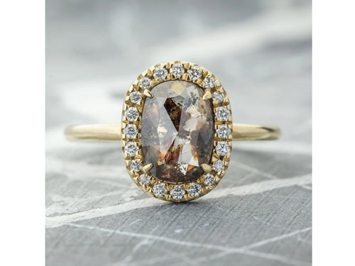 Oval Autumnal-Speckled Diamond Halo Engagement Ring