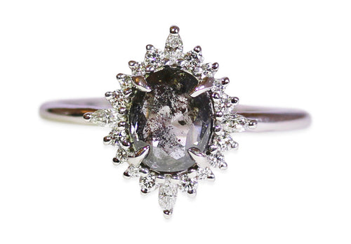 "Oval Salt & Pepper Diamond ""Cosette"" Engagement Ring"