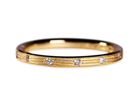 18K Yellow Gold, Oxidized Sterling Silver and Diamond Wedding Band