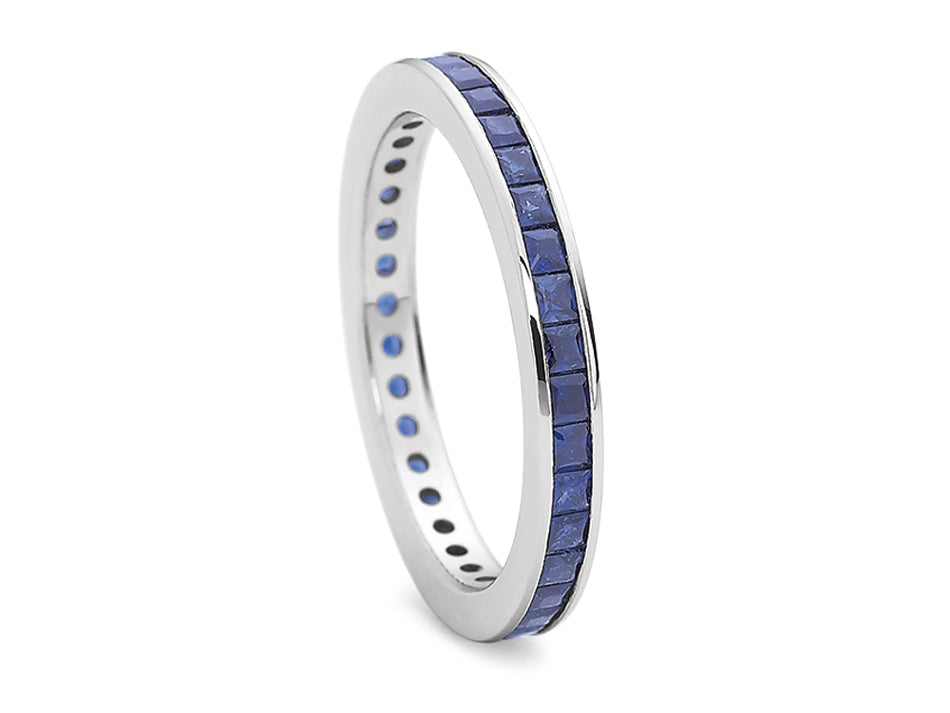 18K White Gold and Sapphire Eternity Wedding Band