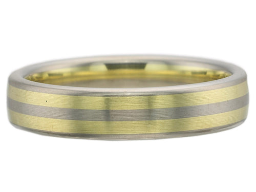Palladium and 18K Green Gold Men's Wedding Band