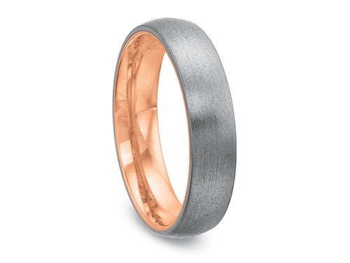 18K White and Rose Gold Men's Wedding Band