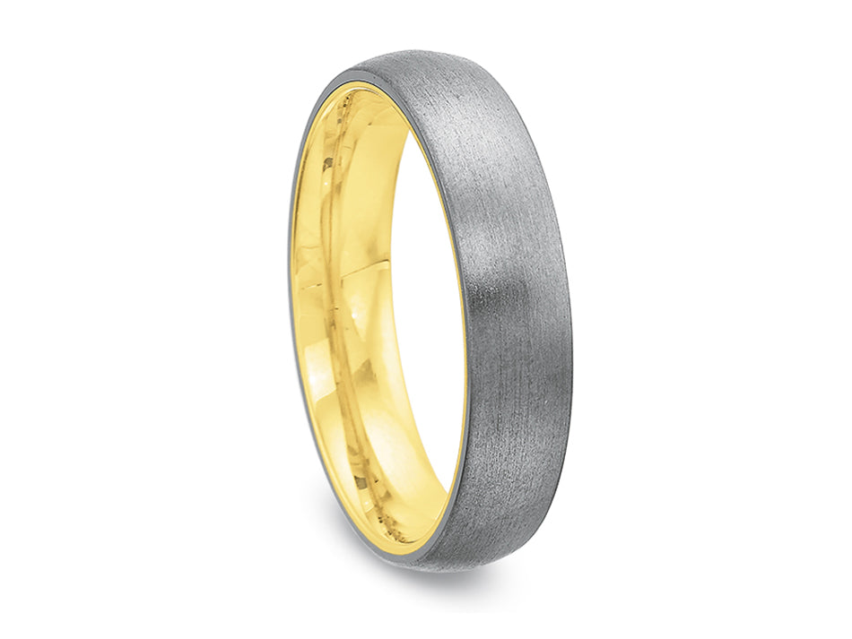 18K White and Green Gold Men's Wedding Band