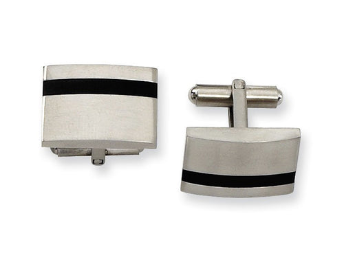 Stainless Steel and Black Rubber Cufflinks
