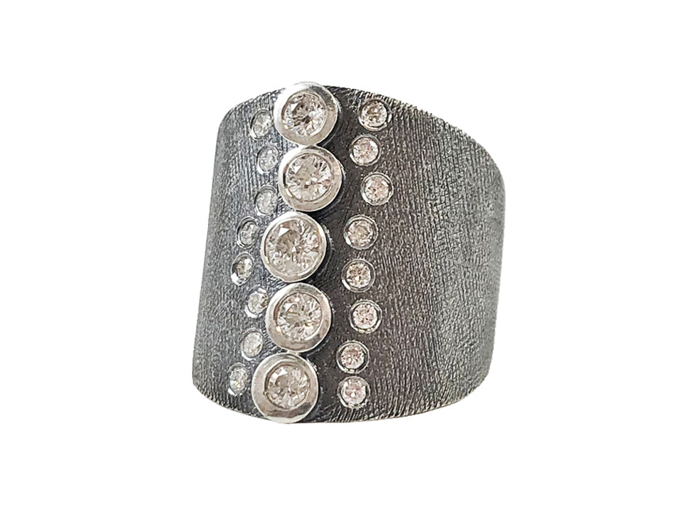 Oxidized Sterling Silver and Diamond Ring