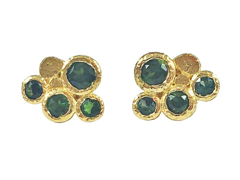 18K Yellow Gold, Diamond and Aquamarine Earrings