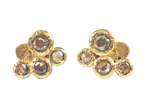 18K Yellow Gold and Cognac Diamond Stud Earrings at the Best Jewelry Store in Washington DC
