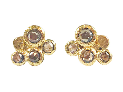 14K Rose Gold and Diamond Earrings