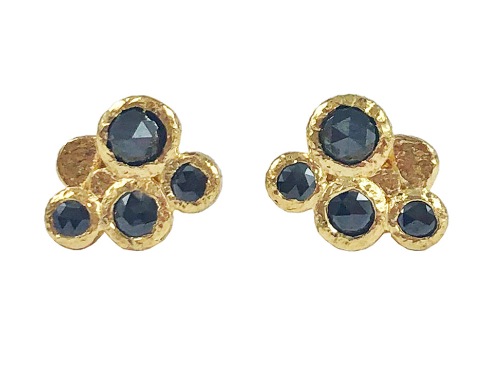 18K Yellow Gold and Black Diamond Stud Earrings in Washington DC