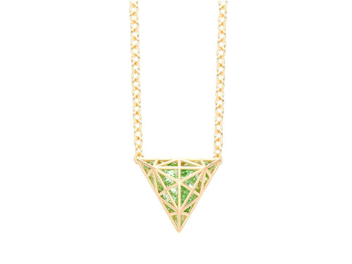 Floating Mint Garnet Triangle Necklace