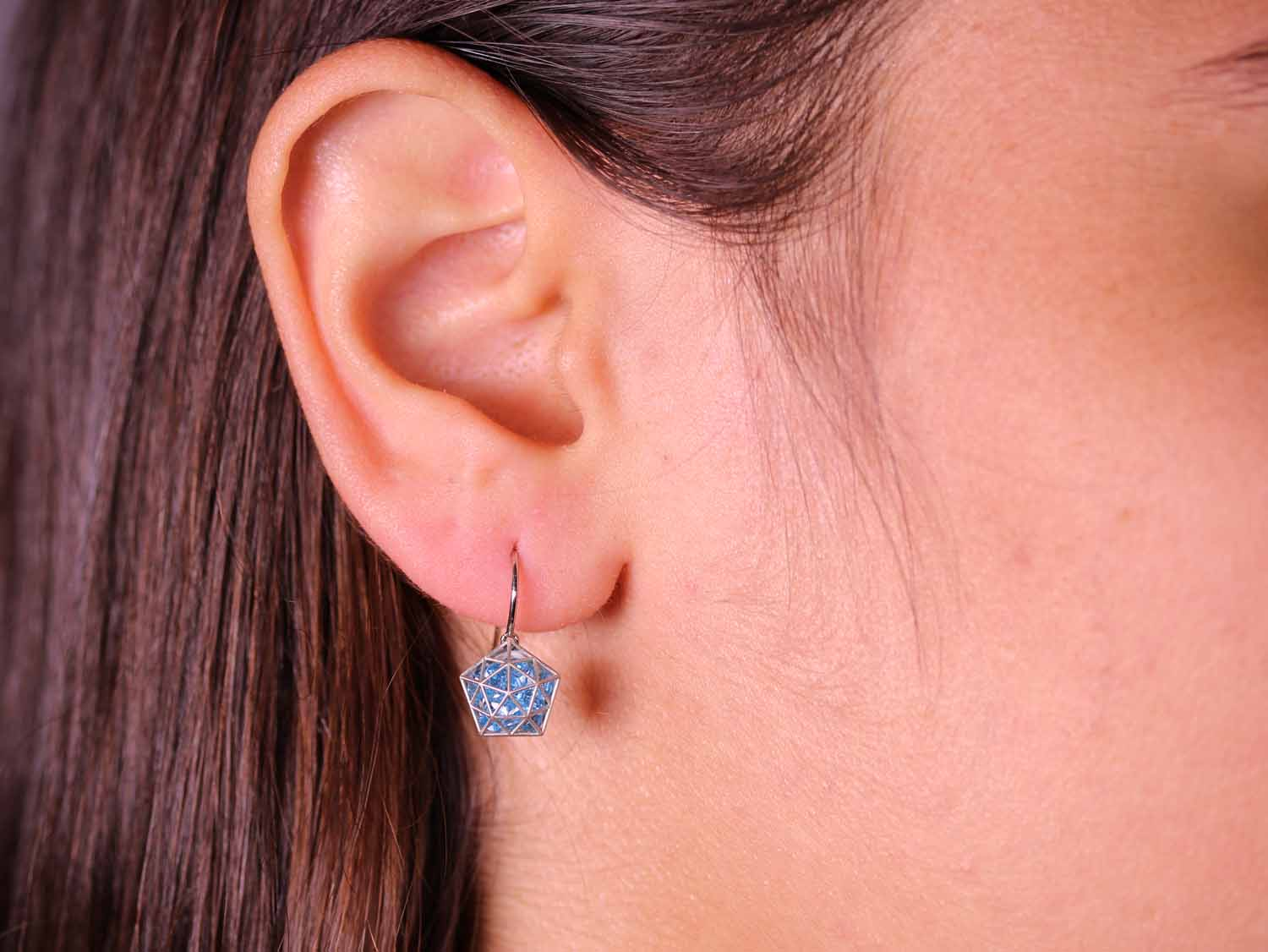 Floating Blue Topaz Pentagon Earrings