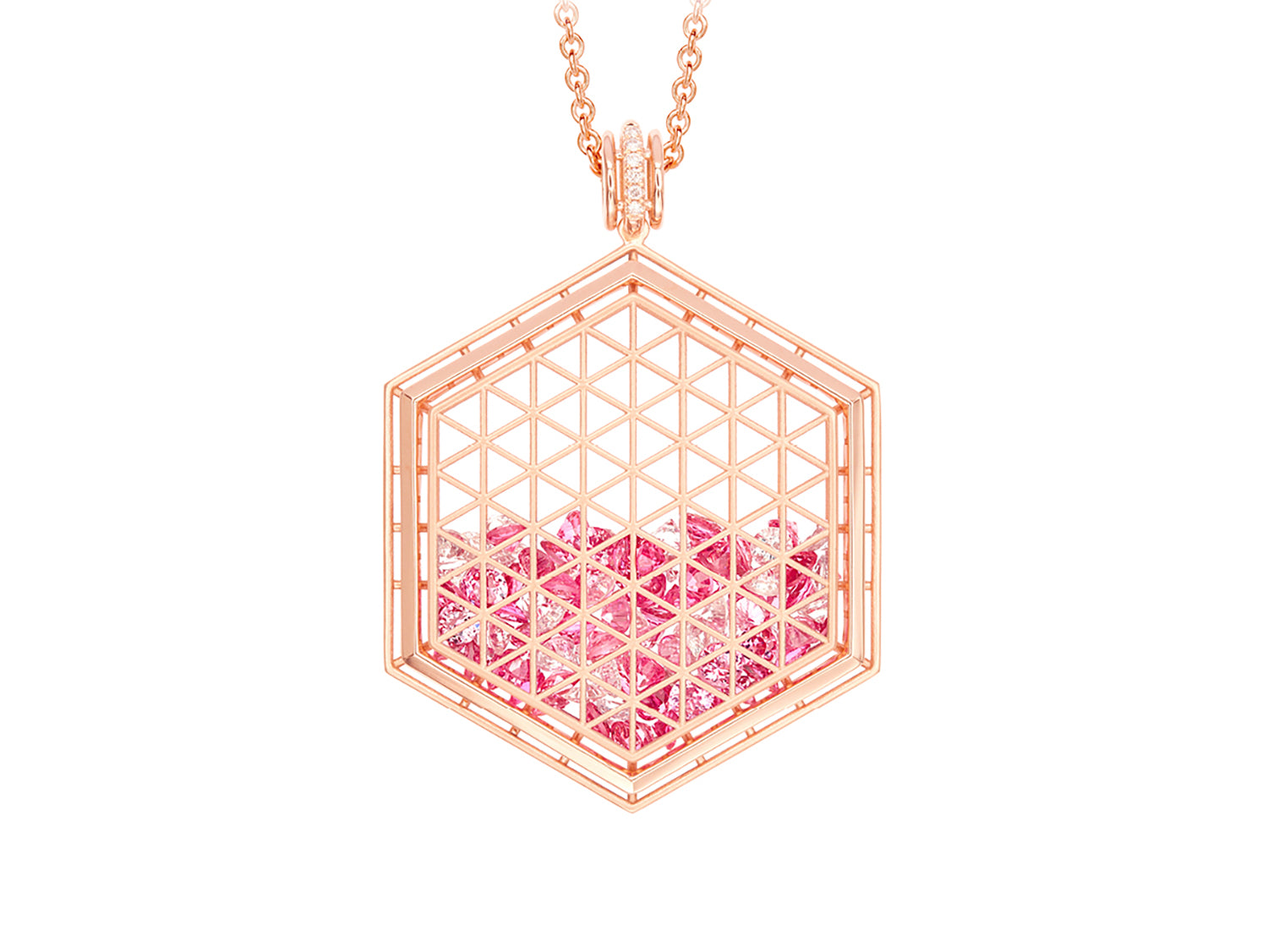 Floating Pink Spinel, White Sapphire and Diamond Shaker Pendant Necklace