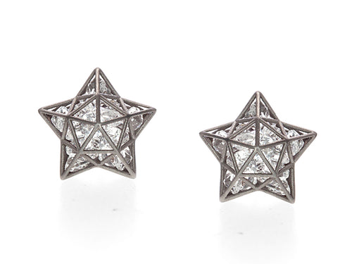 Floating White Sapphire Astral Stud Earrings