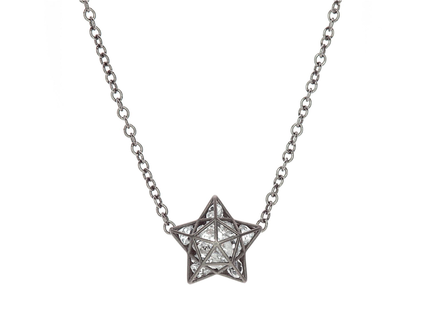 Floating White Sapphire Astral Pendant Necklace