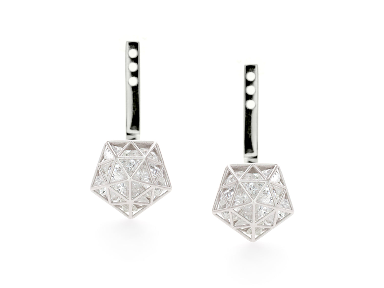 Floating White Sapphire Pentagon Adjustable Ear Jackets