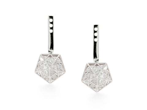Diamond Huggie Earrings in White Gold