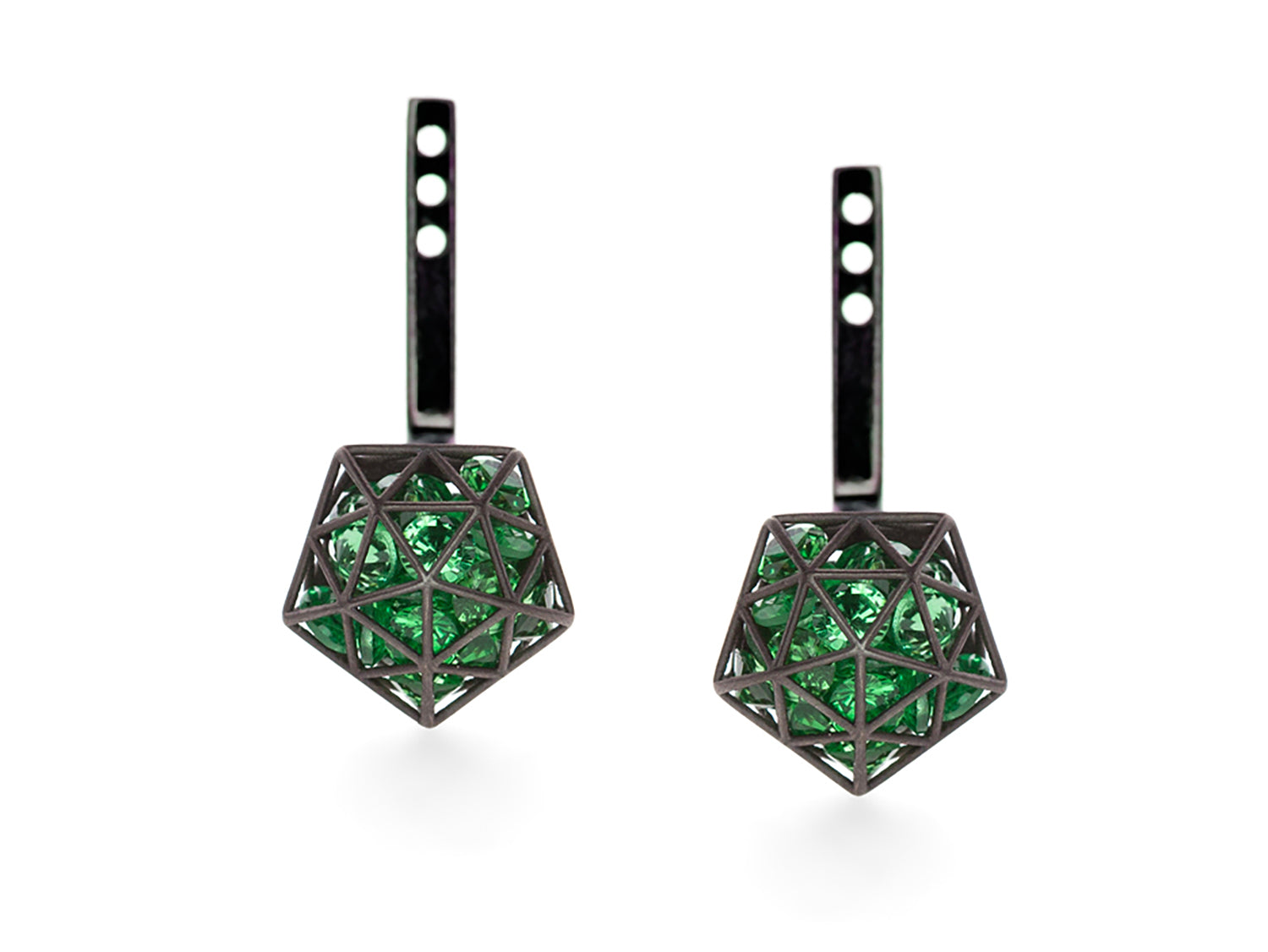 Floating Tsavorite Garnet Pentagon Adjustable Ear Jackets