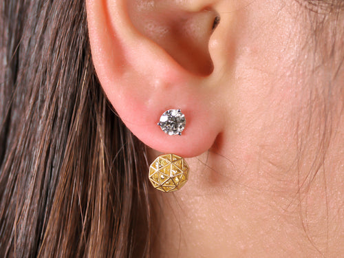 Floating Yellow Sapphire Adjustable Decagon Ear Jackets