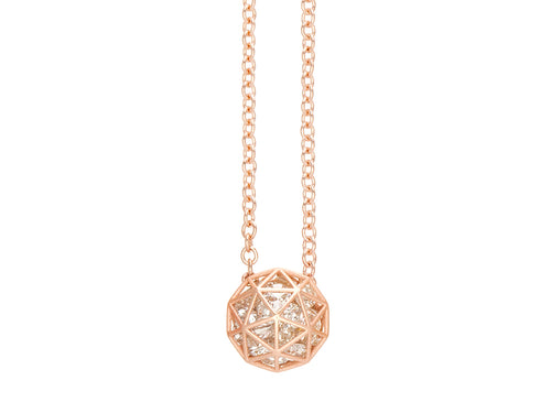 Floating Champagne Diamond Decagon Pendant Necklace