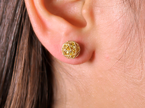 Floating Yellow Sapphire Decagon Stud Earrings