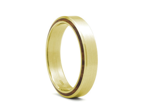 18K Yellow Gold, Wood, Ruby and Diamond Men's Wedding Band