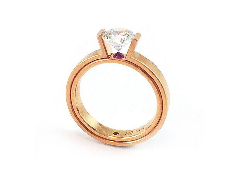 Satoru Unique Rose Gold, Diamond and Ruby Engagement Ring Mounting