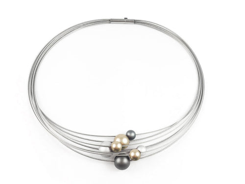 Multi Strand Stainless Steel Coil Necklace With Aluminum Beads