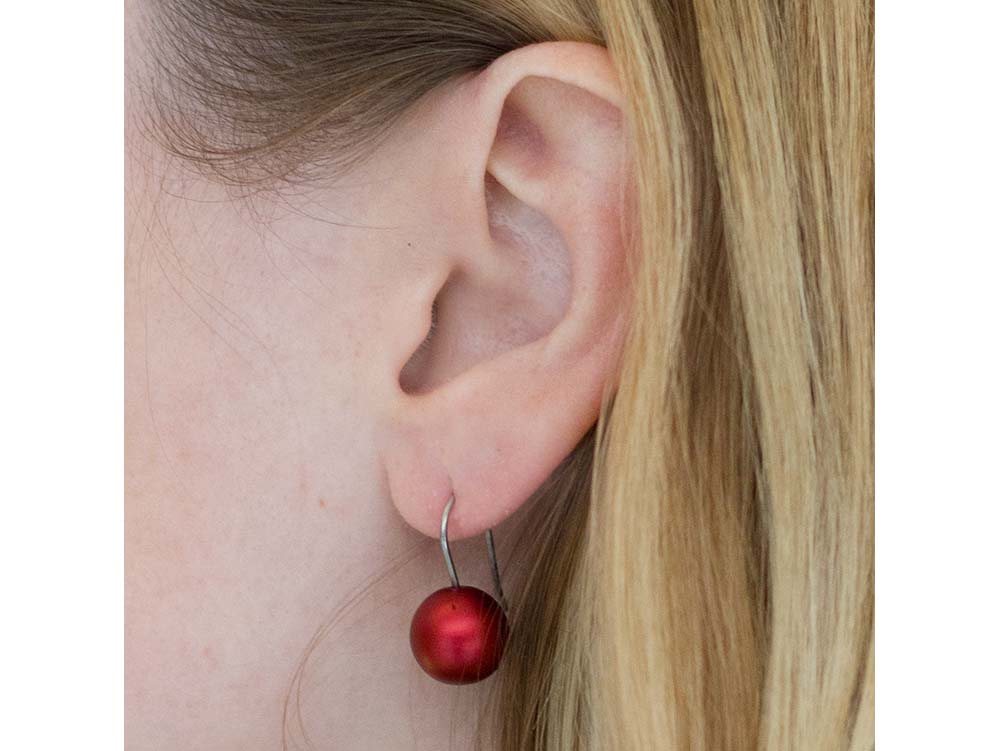 Stainless Steel and Red Aluminum Ball Earrings