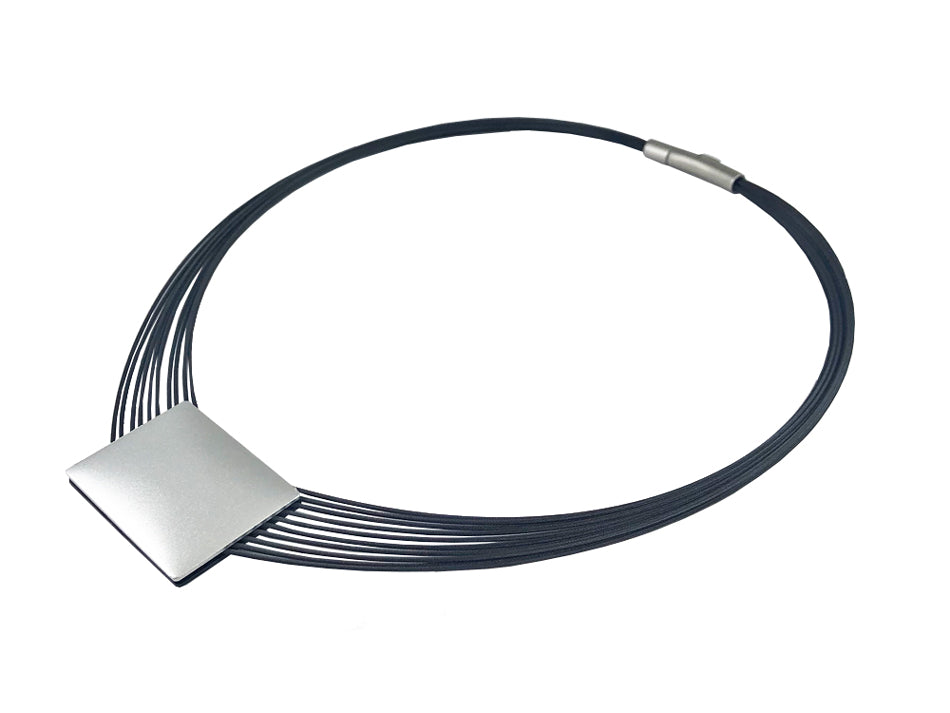 Multi-Strand Stainless Steel Necklace with Reversible Black/Silver Aluminum Pendant