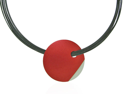 Stainless Steel Necklace with Red and Silver-Colored Aluminum Pendant