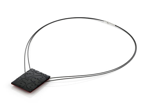 Stainless Steel Necklace with Reversible Red and Black Pendant