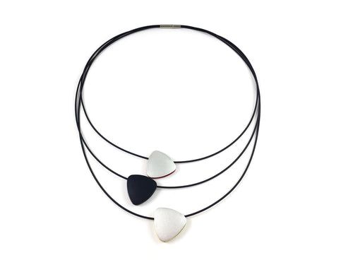 Blackened Silicone Necklace  with Reversible Multi-Color Aluminum Pendants       Necklace