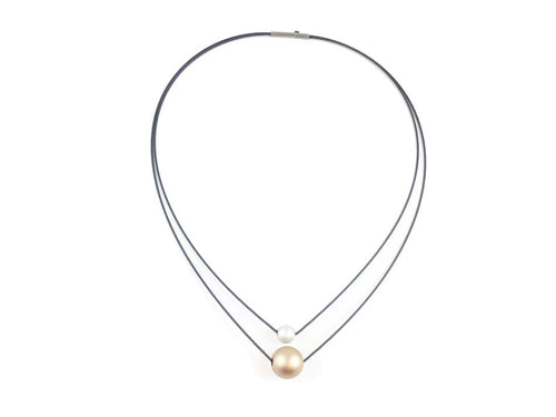 Stainless Steel Necklace with Gold and Silver-Colored Aluminum Beads